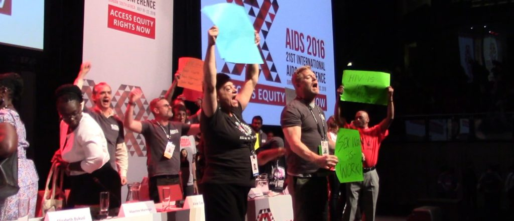 Anti-criminalization activists took the main stage at an AIDS2016 plenary.