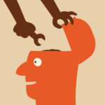Hand holdig wrench to fix the brain in human head. Abstract background on fixing or changing, or make better way of thinking.